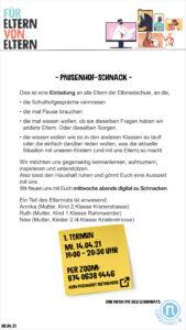 Pausenhof-Schnack, Zoomlink, Elbinselschule